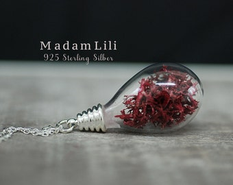 925 Sterling Silver Real Moss Necklace
