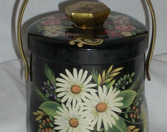 Vintage Confections Tin Murray Allen England Black with Asters