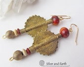 African Brass Earrings, Ethnic Tribal Earrings, Baule Brass Bead Earrings, Bold Exotic Jewelry, Earthy Primitive African Tribal Jewelry