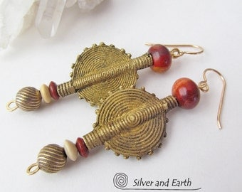 African Earrings, Ethnic Earrings, Tribal Earrings, Baule Brass Bead Earrings, Bold Earthy Exotic Bohemian Boho Chic African Tribal Jewelry