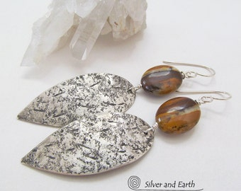 Fossil Stone Earrings, Sterling Silver Earrings, Artisan Handmade Natural Jewelry, Organic Earthy Fossil Jewelry, Petrified Wood Earrings