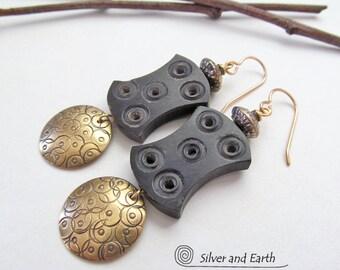 African Earrings, Tribal Earrings, Boho Chic Earrings, Gold Brass Dangle Earrings, Handmade Earthy Ethnic Bohemian African Tribal Jewelry