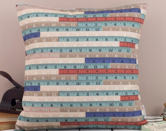 Tape measures Cushion, sewing, dress making ruler in blue, brown, taupe, pink and turquoise, throw pillow made in England