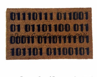 Binary computer Welcome doormat geek nerd outdoor eco friendly home