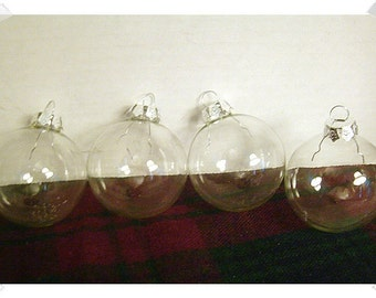 Glass Round Shape Ornaments/ Set of 4/Craft Supply*