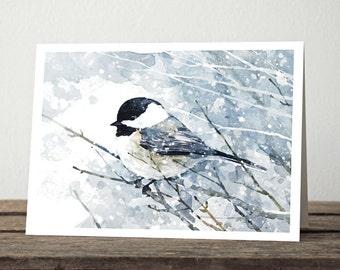Chickadee Snow Watercolor Card Set, 10 cards, Winter Christmas Stationery