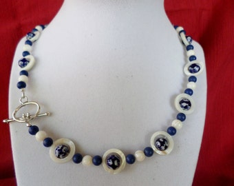 Beaded Necklace in Porcelain Blue and White Shell Beads