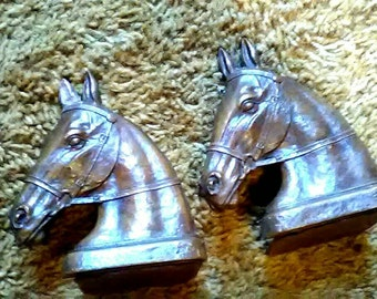 Pair Vintage Syroco Horse Head Bookends