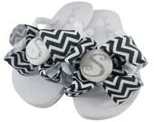 Gray, Silver & White Chevron Glitter Bridesmaid Flip Flops, Wedding Flip Flops in custom colors and personalization