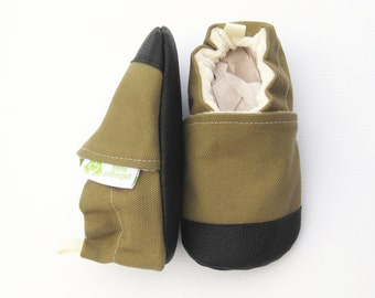 Organic Vegan Heavy Canvas Khaki / non-slip soft sole baby shoes / made to order / babies toddlers preschool