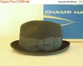 Vintage homburg hat, bronze / green unisex hat, like new brown Gimbels 21 inch (small) dress hat, chapeau, fedora, wool hat, hipster dude