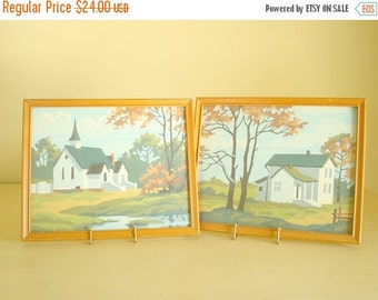 Paint-by-number pictures, two vintage landscapes, church by a stream, country farmhouse, autumn leaves, cottage style home decor