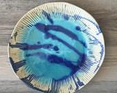 Blue ceramic plate, serving plate, dinnerware, nautical, beach plate, modern platter, home decor
