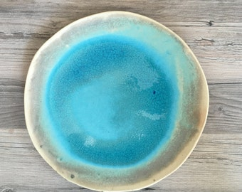 Ceramic platter - Caribbean sea  design in a turquoise glaze  handmade ceramic dinnerware - tableware - wedding gift