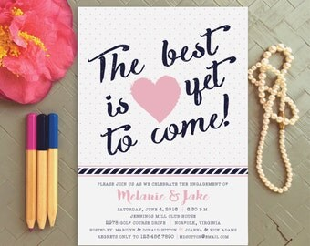 Navy and Lavender Engagement Party Invitation | Engagement Announcement | Save the Date Announcement | Shower Invitations