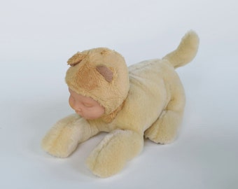 Baby dog soft sculpture, golden retriever dog and bear baby altered stuffed mutant animal