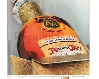 1958 Ancient Age Bourbon Vintage Ad, Straight Kentucky Bourbon, Advertising Art, Magazine Ad, 1950's Alcohol Ad, Great for Framing.