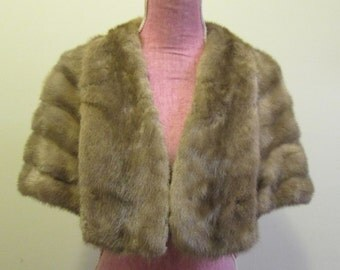 50s Switzer's Taupe Mink Shawl Collar Classic Stole