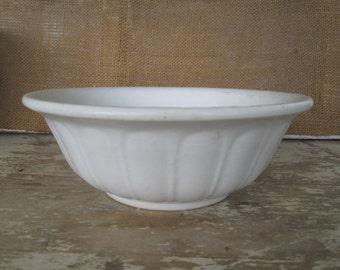 White ironstone bowl Simply White Decor Country Cottage Chic Farmhouse Farm House Rustic Prairie Antique Bowl