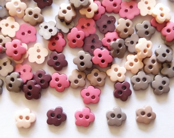 80 pcs - Cute cherry blossom flower button - size 10 mm - mix brown tone