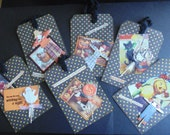Lot of 6 Large Halloween Tags Scrapbooking Papercrafts Treat Bags