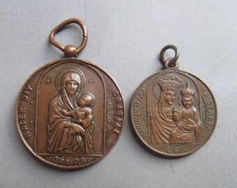 Madonna Jesus Mary Religious Medals Saint Ignatius Pendants Two Piece Lot  SS114