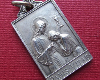 Jesus Antique Religious Medal French Silver Communion Catholic Pendant  SS-465