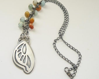 Butterfly wing pendant with amazonite - silver butterfly necklace  - embellished silver chain - artisan hand pierced pendant