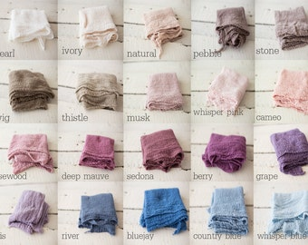 PICK any 3 Newborn Wraps, Baby Wraps Cheesecloth Wraps Photography Prop, Newborn Photo Prop, Extra Long