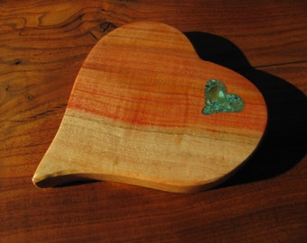 Carob Wood Cheese board/Bread board 4, with turquoise and mica