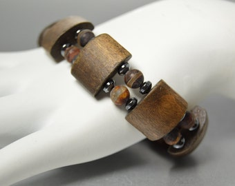 Mens Wooden Bracelet, African Tribal Bracelet, Beaded Brown Bracelet, Recycled Wood, African Dzi Beads