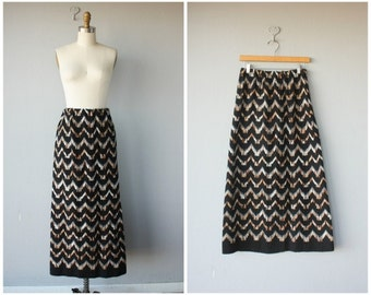 Vintage 1970s Skirt | 70s Skirt | Vintage Maxi Skirt | Winter Skirt | Chevron Skirt