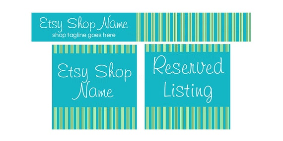 Etsy Banners - Etsy Shop Banners - Blue Etsy Shop Banners - Stripes Etsy Banners - Blue Etsy Banners - Etsy Banners Set - 3 Piece Chic 22