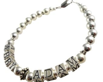 Classic Mother's Bracelet in sterling silver with 2 children's names- or one child or any personalizations. Great gift for Mom or Grandma
