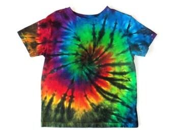 Toddler Boy's Tie-dye T-shirt, Size 5T, rainbow & black