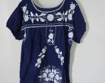 Royal Blue with White Embroidery Mexican Smock Dress