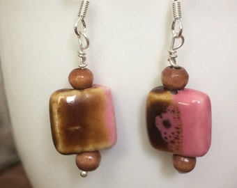 Raspberry and Chocolate Earrings