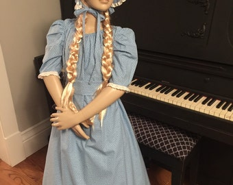 Girls pioneer Prairie Colonial Dress Costume Ready to Ship Size 8 blue dress up bonnet