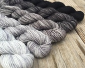 cashmere Blackbeard's Revenge Hand Dyed Gradient Set Mini Skein Sock Yarn 475 yards Cashmere Blend Yarn merino cashmere silver gray black