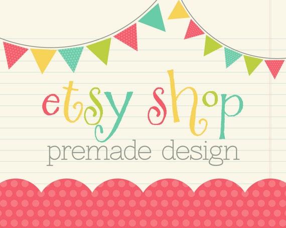 Etsy Shop Banner, Etsy Banner, Etsy Cover Shop Icon - Pennant Banner Notebook Polka Dot - Premade Design Package, Logo Design, Branding Shop
