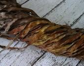Hand Dyed ribbon LEAF PILE, dark shimmer edge, 5 yards