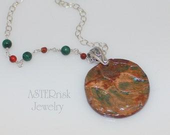 Necklace - Copper Patina Malachite Carnelian Sterling Silver