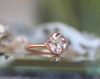 Genuine Morganite 14K Gold Ring, Gemstone RIng, Cushion Shape Ring, Eco Friendly, Engagement Ring, Stacking Ring - Made To Order