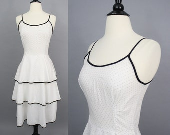 vintage 80s Black and White Polka Dot Sun Dress / 1980s Funky Fun Pindot Tiered Dress / Extra Small XS