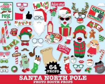 Christmas Photo Booth Props, Santa, Mrs Claus, Cookie Party, Christmas Party -  Instant Download PDF - 64 DIY Printable Props