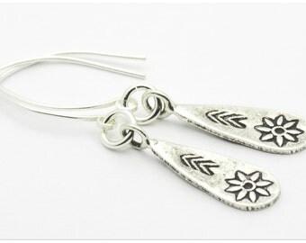 Sterling Flower Earrings, Antiqued, Flower Earrings, Simple - 1EAC0022SS