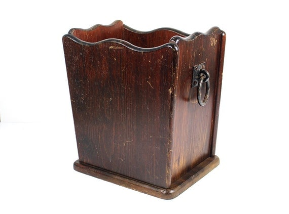 Vintage wooden umbrella stand newspaper magazine holder