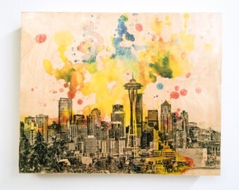 Wood Panel Seattle Skyline Art Print from Original Watercolor Painting Print on Wood 8x10 in Seattle Skyline Art On Wood Panel