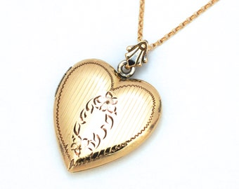 Engraved Sterling Vermeil Victorian Revival Heart Locket