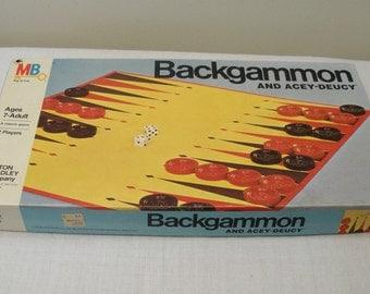 Vintage 1973 Milton Bradley Backgammon & Acey Deucy